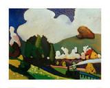 Landscape with Locomotive, 1909 Giclée-tryk af Wassily Kandinsky