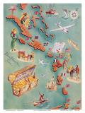 Map of Caribbean Islands - Bahama Islands - U.S. Virgin Islands - Menu Cover Rum Drink List - Don t Pôsters