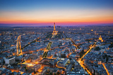 Paris, France at Sunset. Aerial View on the Eiffel Tower, Arc De Triomphe, Les Invalides Etc. Reproduction photographique par Michal Bednarek