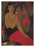 Hawaiian Woman in front of Colorful Croton Leaves Poster di John Melville Kelly