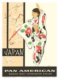 Japan - Japanese Geisha Dancer in Kimono Póster por A Amspoker