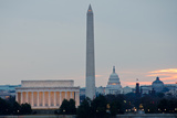 Washington DC City View at Sunrise, including Lincoln Memorial, Monument and Capitol Building Photographic Print by  Orhan