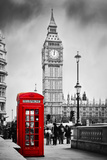 Red Telephone Booth and Big Ben in London, England, the Uk. People Walking in Rush. the Symbols of Fotografisk trykk av Michal Bednarek