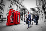 Business Life Concept in London, the Uk. Red Phone Booth, People in Suits Walking Reproduction photographique par Michal Bednarek