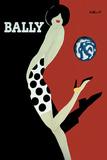 Schoenenreclame, vrouw met bal, Bally Posters