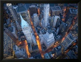 Vue aérienne de Wall Street, New York Photographie encadrée par Cameron Davidson