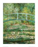 Japanese Footbridge Print van Claude Monet