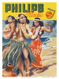 Hawaiian Hula Dancers - Philips Radio Plakater