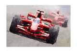 Ferrari F1 Race Watercolor Plakat av  NaxArt