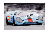 Porsche 917 Gulf Watercolor Prints by  NaxArt