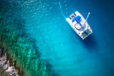 Amazing View to Yacht Sailing in Open Sea at Windy Day. Drone View - Birds Eye Angle Photographic Print by  dellm60