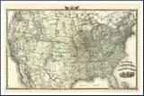 New Railroad Map of the United States and Dominion of Canada, c.1876 Pohjustettu vedos tekijänä  Warner & Beers