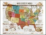 United StatesOf America Map II Pohjustettu vedos