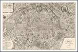 Plan de la Ville de Paris, 1715 Pohjustettu vedos tekijänä Nicolas De Fer