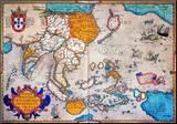 Pacific Ocean/Asia, 1595 Pohjustettu vedos tekijänä Abraham Ortelius