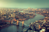 London Aerial View with Tower Bridge in Sunset Time Lámina fotográfica por Iakov Kalinin