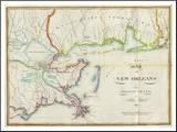 Map of New Orleans and Adjacent Country, c.1815 Pohjustettu vedos tekijänä John Melish