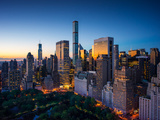 New York City - Amazing Sunrise over Central Park and Upper East Side Manhattan - Birds Eye / Aeria Reproduction photographique par  dellm60