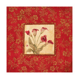 Orchids in Red Print by Jo Moulton
