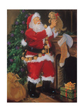 Santa with Puppy Posters by Susan Comish