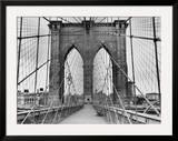 Pedestrian Walkway on the Brooklyn Bridge Framed Photographic Print by  Bettmann