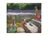 Kids Fishing, Looe, Cornwall, 2014 Giclee Print by Andrew Macara