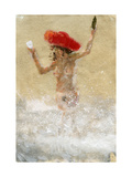 Girl in the Waves Giclee Print by Lincoln Seligman