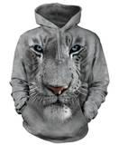 Hoodie: White Tiger Face Hoodie (over het hoofd)