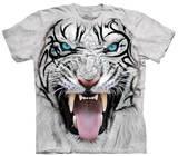 Youth: Big Face Tribal White Tiger T-paita