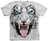 Big Face Tribal White Tiger T-skjorte