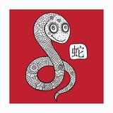 Chinese Zodiac. Animal Astrological Sign. Snake. Prints by  Katyau