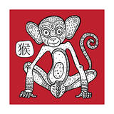 Chinese Zodiac. Animal Astrological Sign. Monkey. Prints by  Katyau