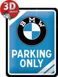BMW Parking Only - Blue Tin Sign