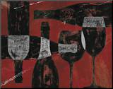 Wine Selection III Red Mounted Print by Daphne Brissonnet