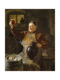Master Brewer at Mealtime in the Cellar of the Cloister, 1892 Giclée-tryk af Eduard Grützner