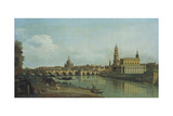 View of Dresden from the Right Bank of the River Elbe Upriver of the Augustusbruecke, 1747 Impressão giclée por  Canaletto
