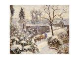 Snow at Montfoucault, 1891 Stampa giclée di Camille Pissarro