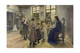 Let the Children Come to Me, 1884 Giclée-tryk af Fritz von Uhde