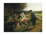 Children Listen to a Shepherd, 1868 Giclée-tryk af Hubert Salentin