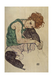 Seated Woman with Bent Knee, 1917 Giclée-tryk af Egon Schiele