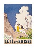 L'Ete En Suisse, Poster by the Swiss Office of Tourism, 1921 Gicléetryck av Emil Cardinaux