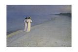 Summer Evening at Skagen (Anna Ancher and Marie Kroyer on the Beach at Skagen), 1893 Giclée-tryk af Peter Severin Kroyer