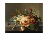 A Branch of Roses with Beetle and Bee, 1741 Giclee-trykk av Rachel Ruysch