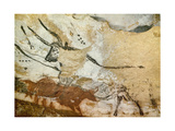 Caves of Lascaux, Fourth Bull, Below: Red Cow with Calf, Great Hall, Right Wall, C. 17,000 BC Giclée-tryk