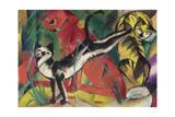 Three Cats, 1913 Reproduction procédé giclée par Franz Marc
