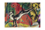 Three Cats, 1913 Giclée-tryk af Franz Marc