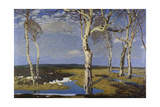 Birch Trees in Worpswede, 1908 Giclée-tryk af Fritz Overbeck