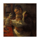 Bunny, Nanny and Child, 1901 Giclée-tryk af Leonid Ossipowitsch Pasternak