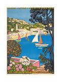 Summer on the Cote D'Azur (L'Été Sur La Cote D'Azur), 1926 Giclee-trykk av Guillaume G. Roger