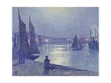 Moonlit Night, Boulogne-Sur-Mer Gicléetryck av Theo van Rysselberghe